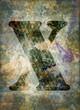 Lettre X fond grunge