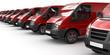 Rote Transporter in einer Reihe (freigestellt)