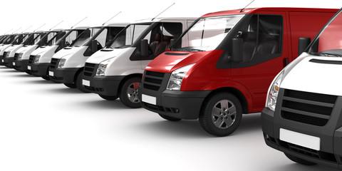 Roter Transporter zwischen Weißen (freigestellt)