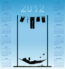 2012 calendar with woman reading in a hammock