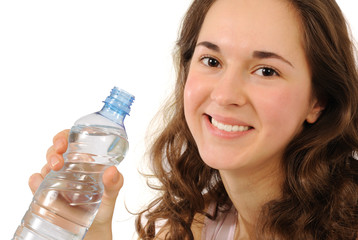 Young girl with bottle of pure water