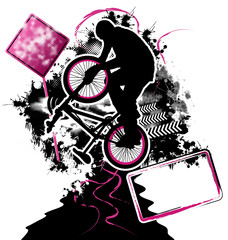 BMX cyclist template vector