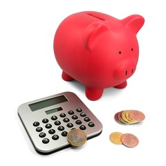 Sparschwein Taschenrechner Münzen