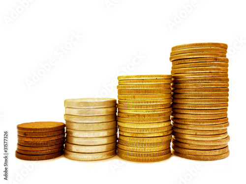 Coins stack in bar graph form