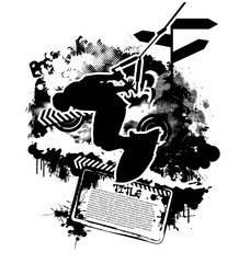 Wakeboarding silhouette on abstract background