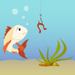 Cartoon fish underwater and earthworm on the hook