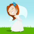 Cartoon happy bride on green grass
