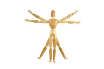 Wooden manikin Vitruvian Man