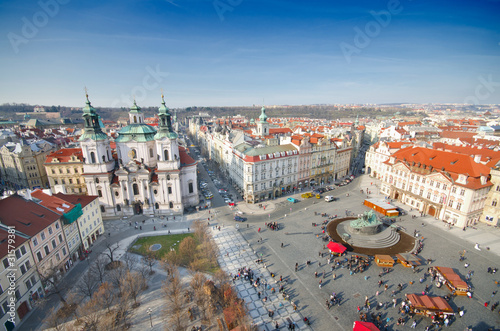 St. Nicholas Church The Old Town Square birds eyes view, Prague