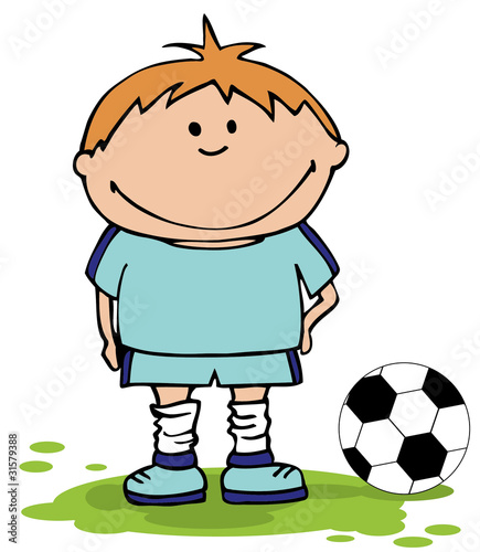 Boy playing soccer . Football Background