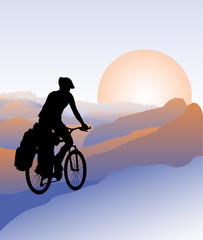 Silhouette of cyclist  Active outdoor lifestyle concept