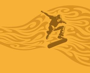 Skateboarder mit Ornament, Vektorillustration