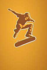 Skateboarder in Aktion, Vektorillustration