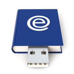 Blue e-Book USB flash drive - front view