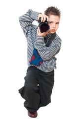 photographer boy isolated on white