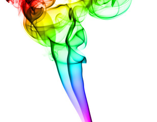 Abstract colorful smoke pattern on white
