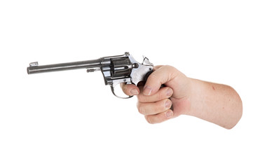handgun cocked in a hand isolated on white