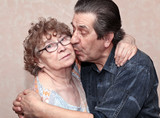 actual gladness of elderly people hugging poster