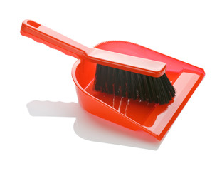 brush with dustpan isolated