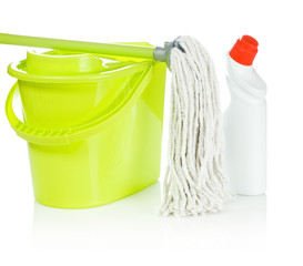 bucket bottle and mop
