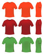 Men's t-shits, orange red and green colors
