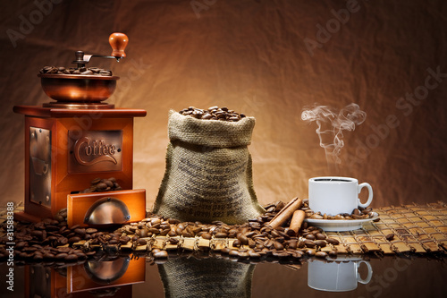 Zdjęcia na płótnie, fototapety na wymiar, obrazy na ścianę : coffee accessories on mat