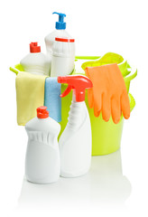 colored cleaning objects in bucket