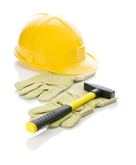 gloves with hammer and helmet