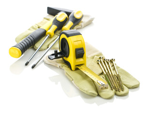 gloves with tools for building