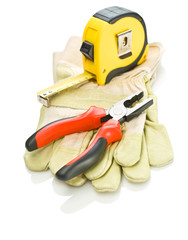 gloves with tapeline and pliers