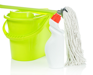 green bucket mop and bottle