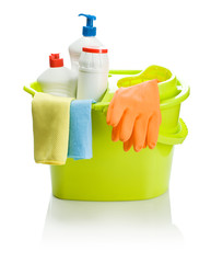 green bucket with cleaning accessories