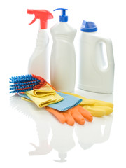 group of cleaning objects