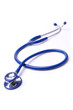 one blue stethoscope with isolated white background.