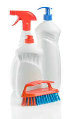 isolated plastic detergents with brush