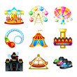Colorful theme park attraction icons - 31598924