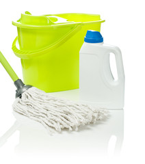 mop and bottle with bucket
