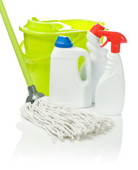 mop bucket and bottles