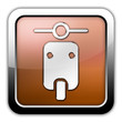 """Bronze Glossy Square Icon """"Scooter"""""""
