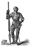 Henry VII armor, King of England, old engraving poster