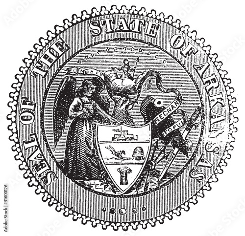 Seal of Arkansas prior to 1907 old engraving.