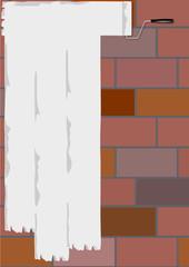 Ziegelmauer mit Anstrich