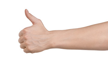 Male hand showing thumbs up sign