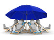 people rest under parasol. Isolated 3D image