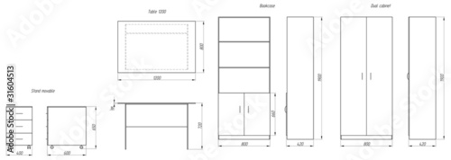 Drawings of furniture. Table, dresser, cupboards