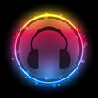 Disco Headphones with Neon Rainbow Circle