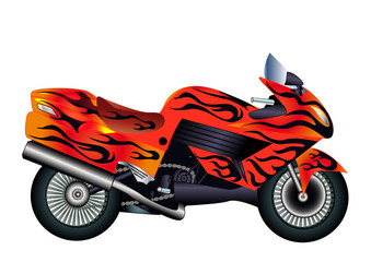 speed motorcycle with burning painter