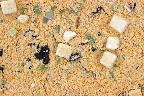 Close view miso soup mix dry ingredients