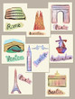 European cities sights in watercolours