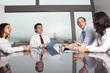 Meeting in conference room